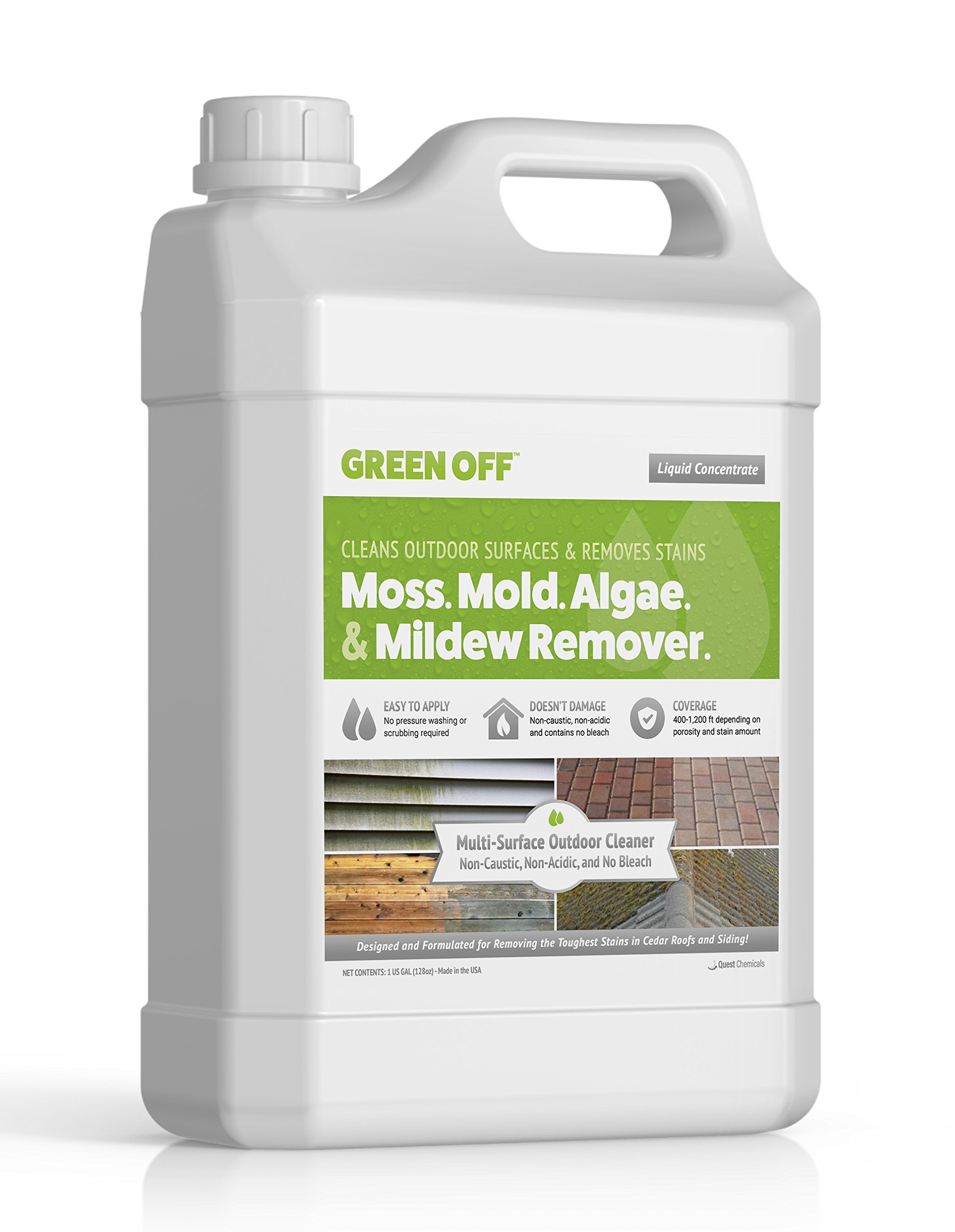 Green Off   Moss, Mold, Mildew, Algae Remover   Perfect for Wood Decks - Siding - Roofs - Concrete - and More   Premium Outdoor Cleaner from Quest Chemicals
