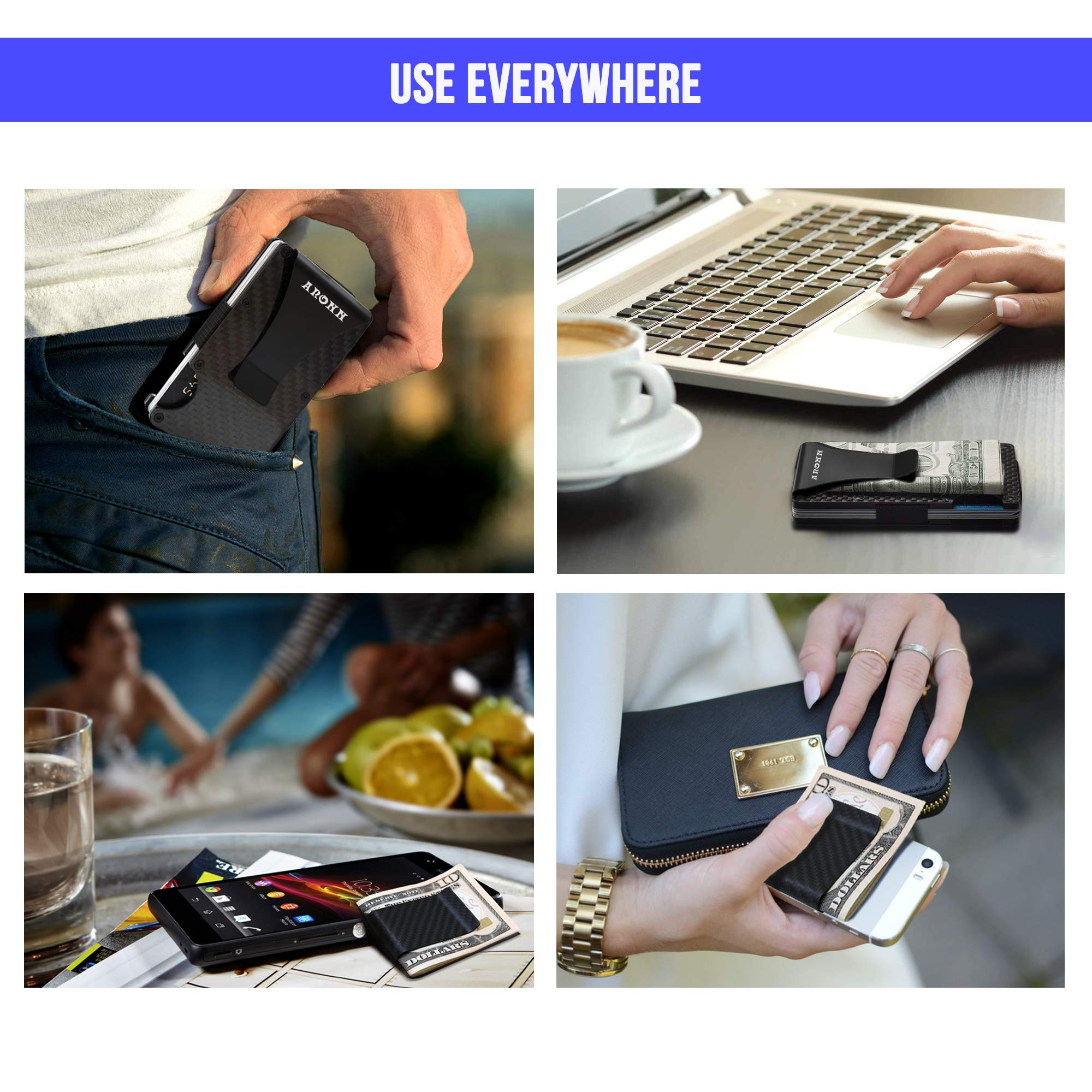 Minimalist Carbon Fiber Wallet Money Clip - RFID Blocking Credit Card Holder for Men and Woman - Metal Slim Wallet - Fits in Front and Back Pocket - Gift Box Included