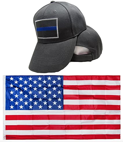 Police Thin Blue Line Blue Lives Matter Grey Gray Embroidred Hat Cap   USA  Flag 3x5 c106772c723