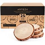 Arteza Natural Wood Slices, 25 Pieces, 3.5-4 Inch Diameter, 0.4 Inch Thickness, Round Wood Discs for Crafts…