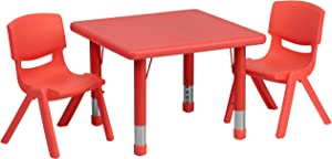 Flash Furniture 24'' Square Red Plastic Height Adjustable Activity Table Set with 2 Chairs