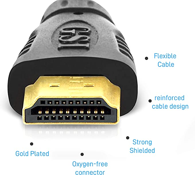 TV to Player//Speaker//Computer Audio Video Connection 3D Pyle GAHDMI6 Pyle 12ft/' High Definition HDMI Cord Portable Universal Gold Plated HDMI Cable Wire Adapter Black Supports 1080p HD 4K