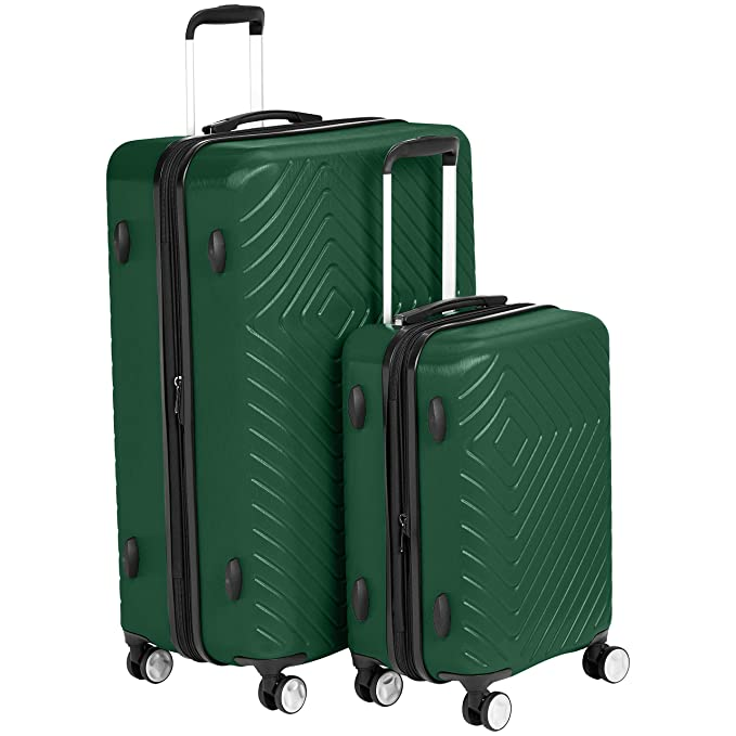 "AmazonBasics Geometric Luggage Expandable Suitcase Spinner - 2 Piece Set (20"", 28""), Green best spinner luggage"
