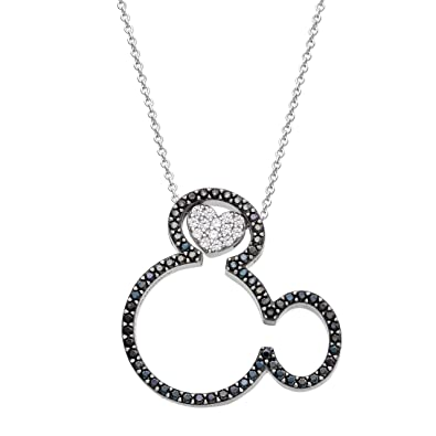 63a249482 Disney Mickey Mouse Jewelry for Women and Girls, Sterling Silver Cubic  Zirconia Mickey Mouse Heart