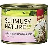Schmusy Katzenfutter Pute & Kaninchen 190 g, 12er Pack (12 x 190 g)