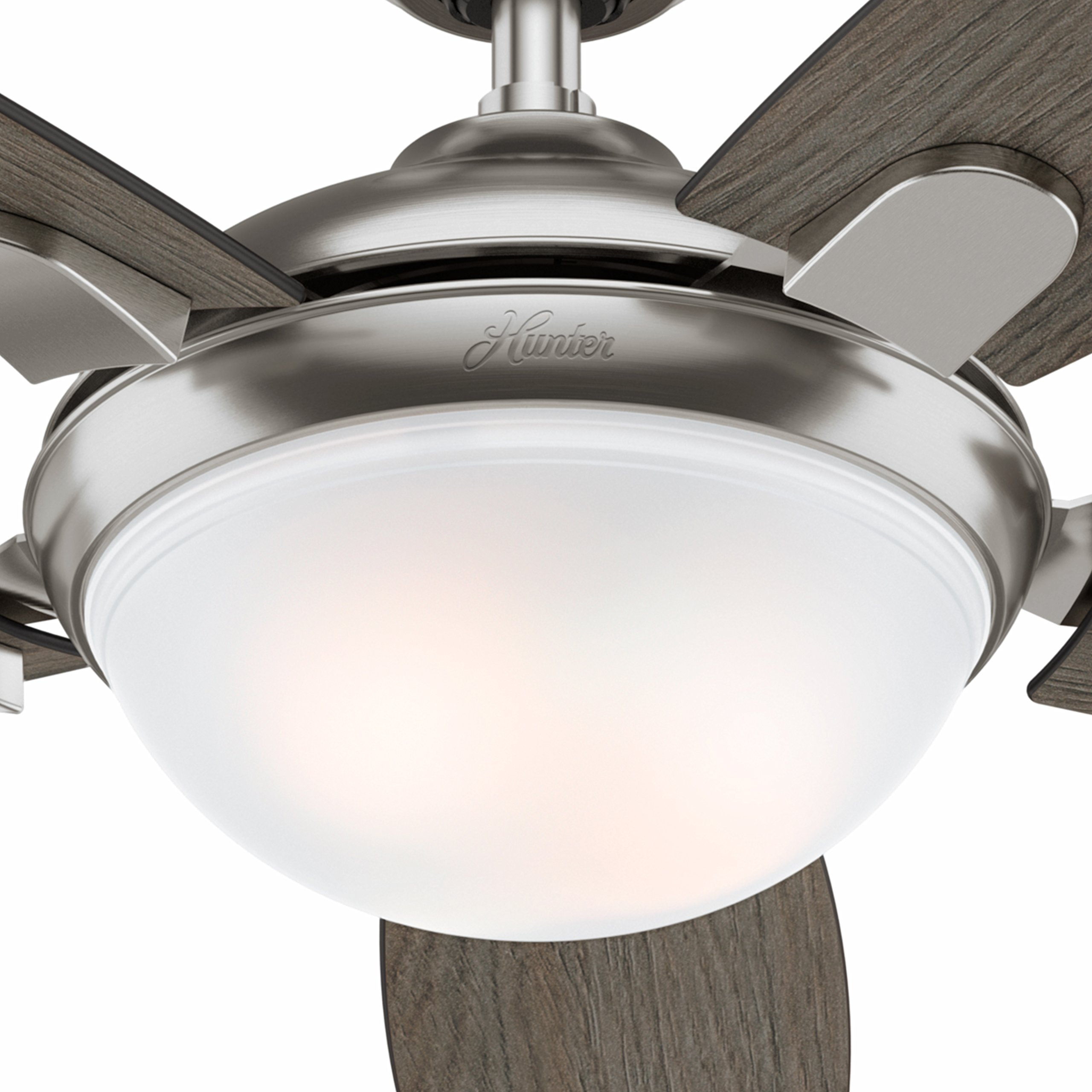 Hunter Fan 54 Contemporary Ceiling In Brushed Nickel With Led Light And Remote Certified Refurbished