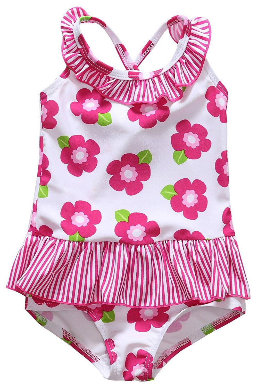 CharmLeaks Baby Girl Cute One Piece Swimming Costumes Printed Swimsuits Swimwear