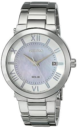 Seiko Solar Reloj Deportivo de La Mujer con Una Hermosa Violet-Pink Madre de Pearl Dial SNE885: Amazon.es: Relojes