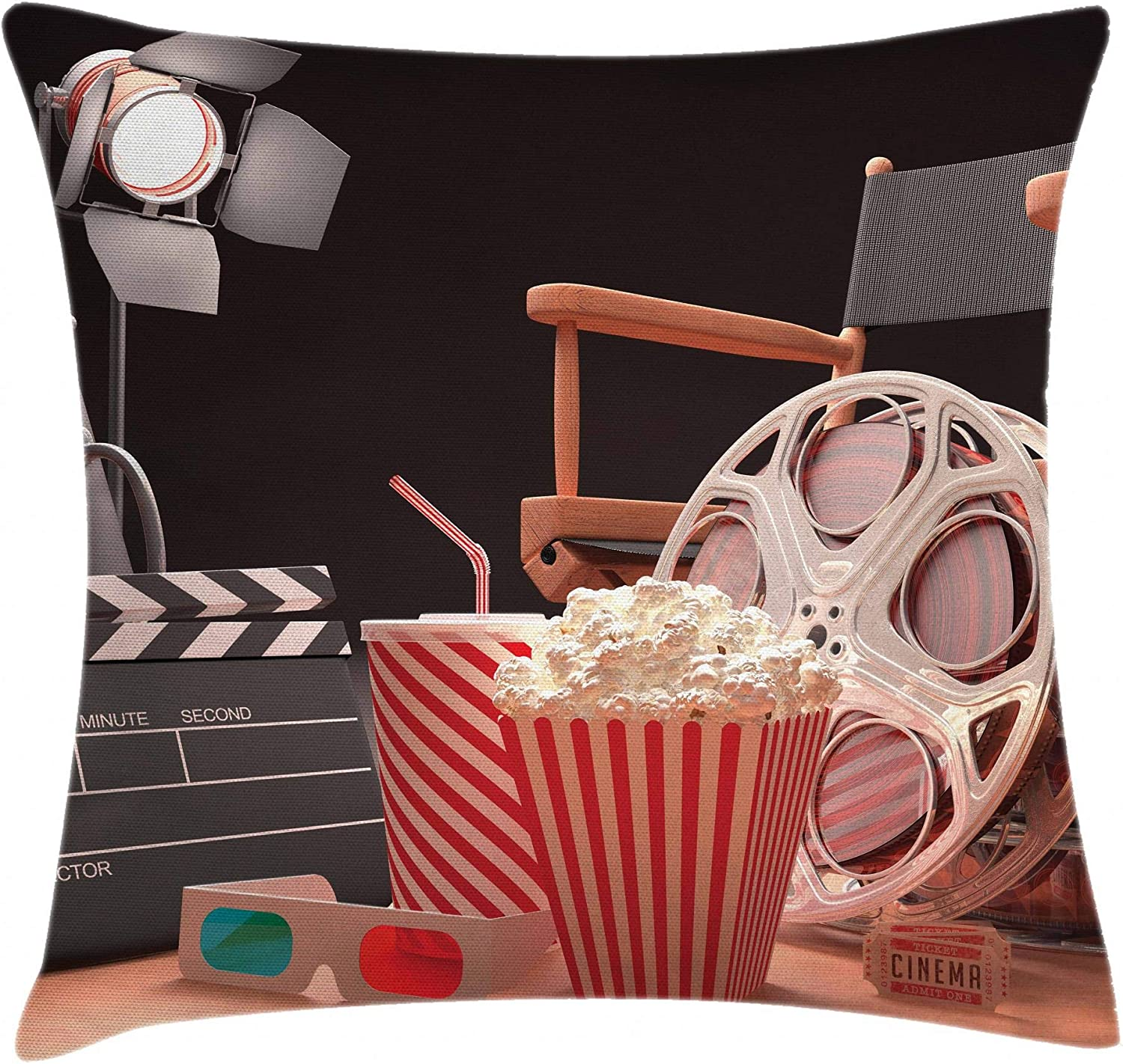 "Ambesonne Movie Theater Throw Pillow Cushion Cover, Objects of The Film Industry Hollywood Motion Picture Cinematography Concept, Decorative Square Accent Pillow Case, 20"" X 20"", Red Black"