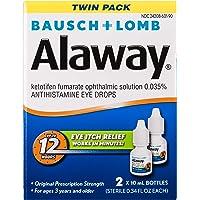 Amazon.com deals on 2PK Bausch + Lomb Alaway Antihistamine Eye Drops 0.34-Oz