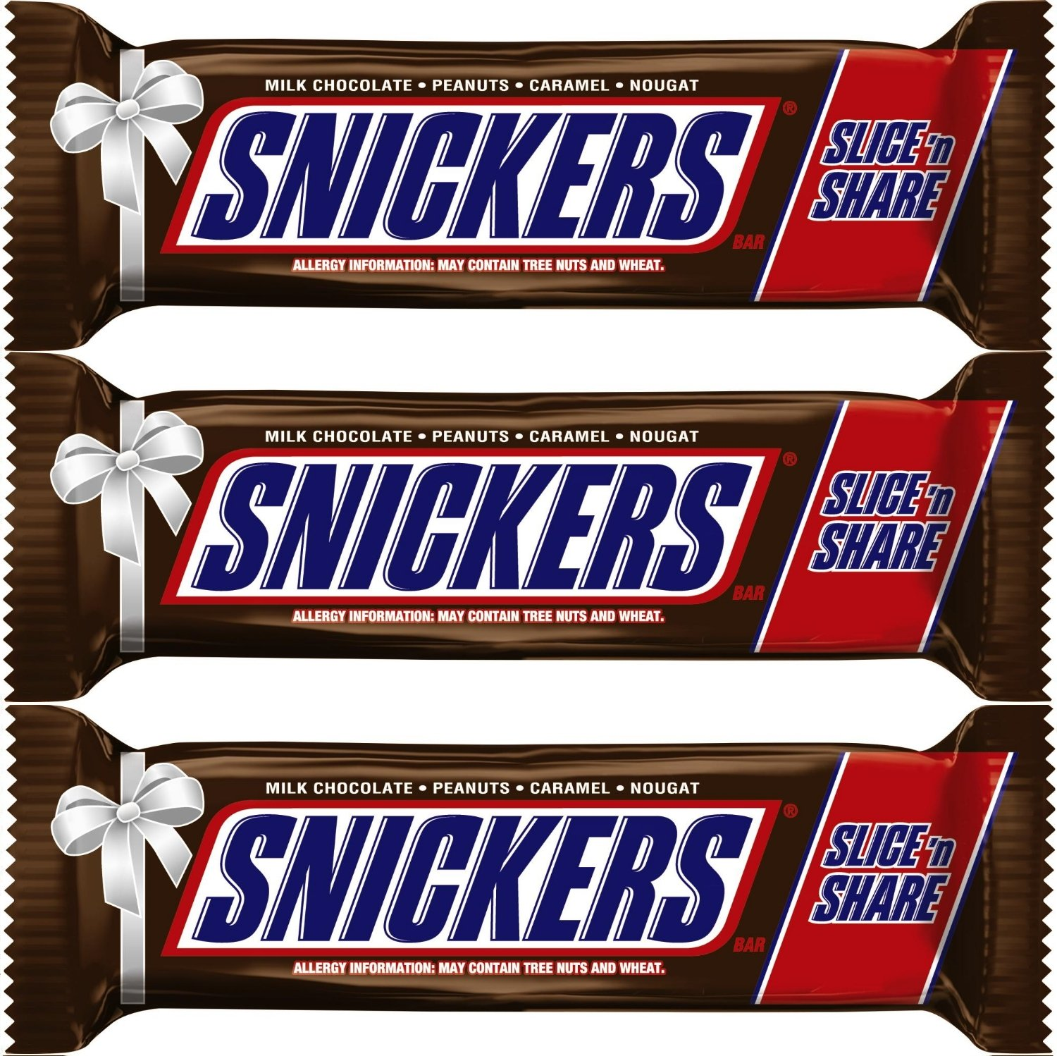 Snickers Chocolate Candy Bar Slice 'n Share (16 oz) - Pack of 3 Peanuts & Caramel for those Hungry Moments by Snickers