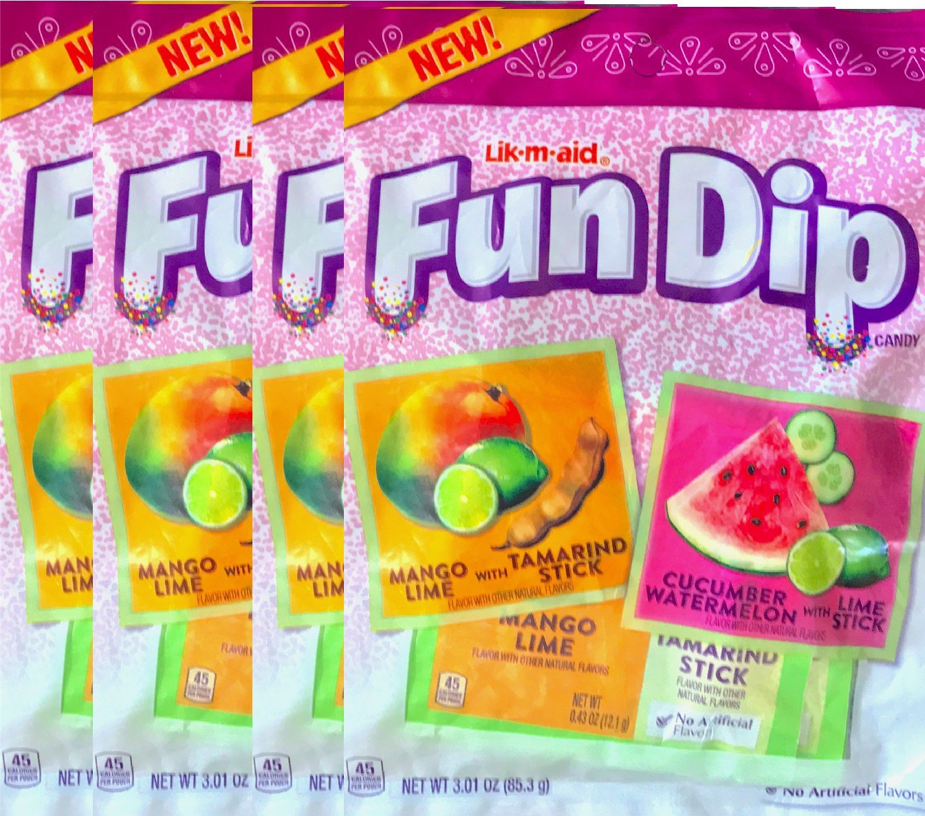 Fun Dip Candy Mango Lime With Tamarindo Stick/Cucumber watermelon With Lime Stick Net Wt 3.01 Oz (4)