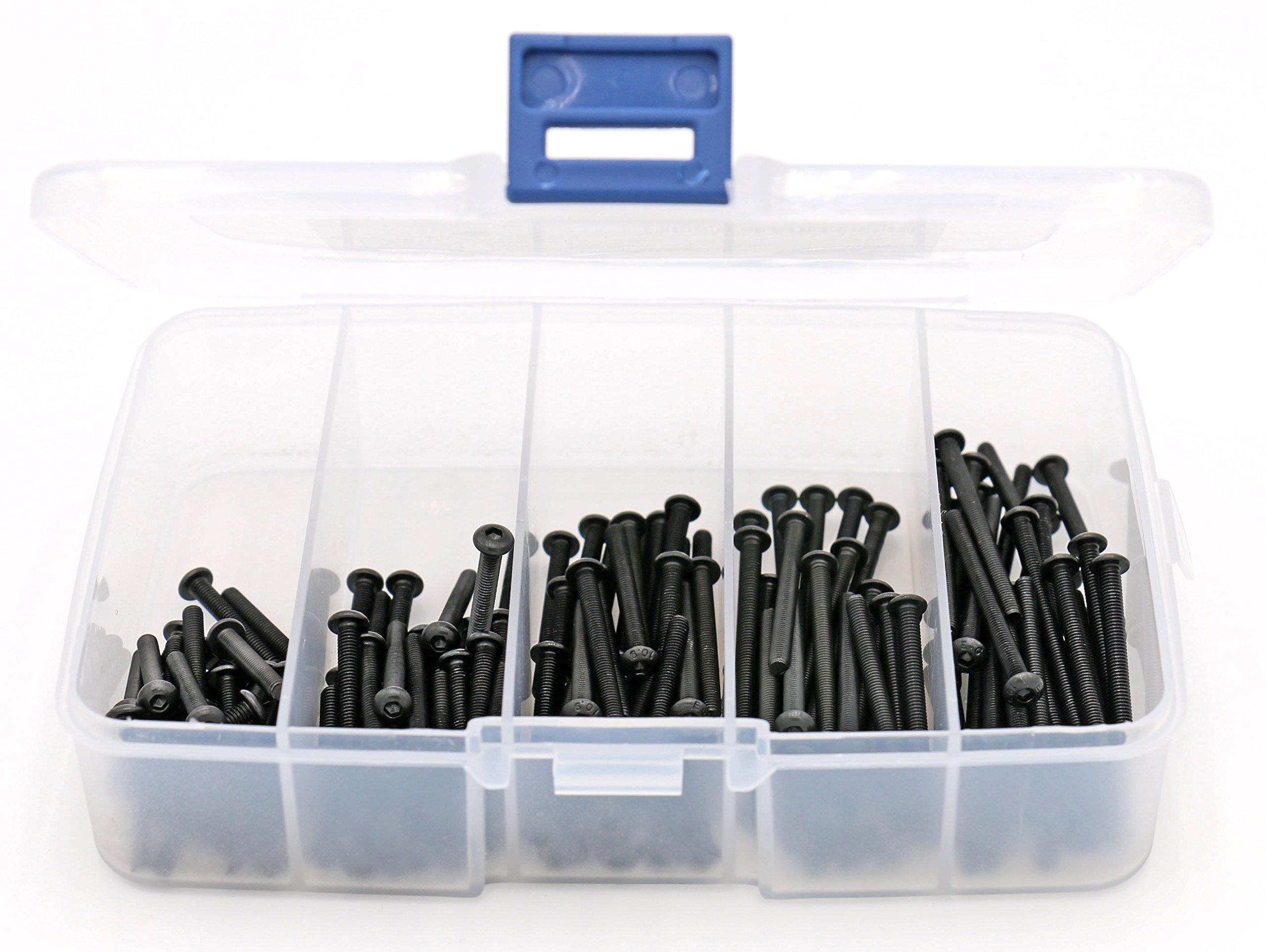 iExcell 125Pcs M3 x 20mm/25mm/30mm/35mm/40mm Button Head Hex Socket Cap Screws Kit,10.9 Grade Alloy Steel, Black Oxide Finish