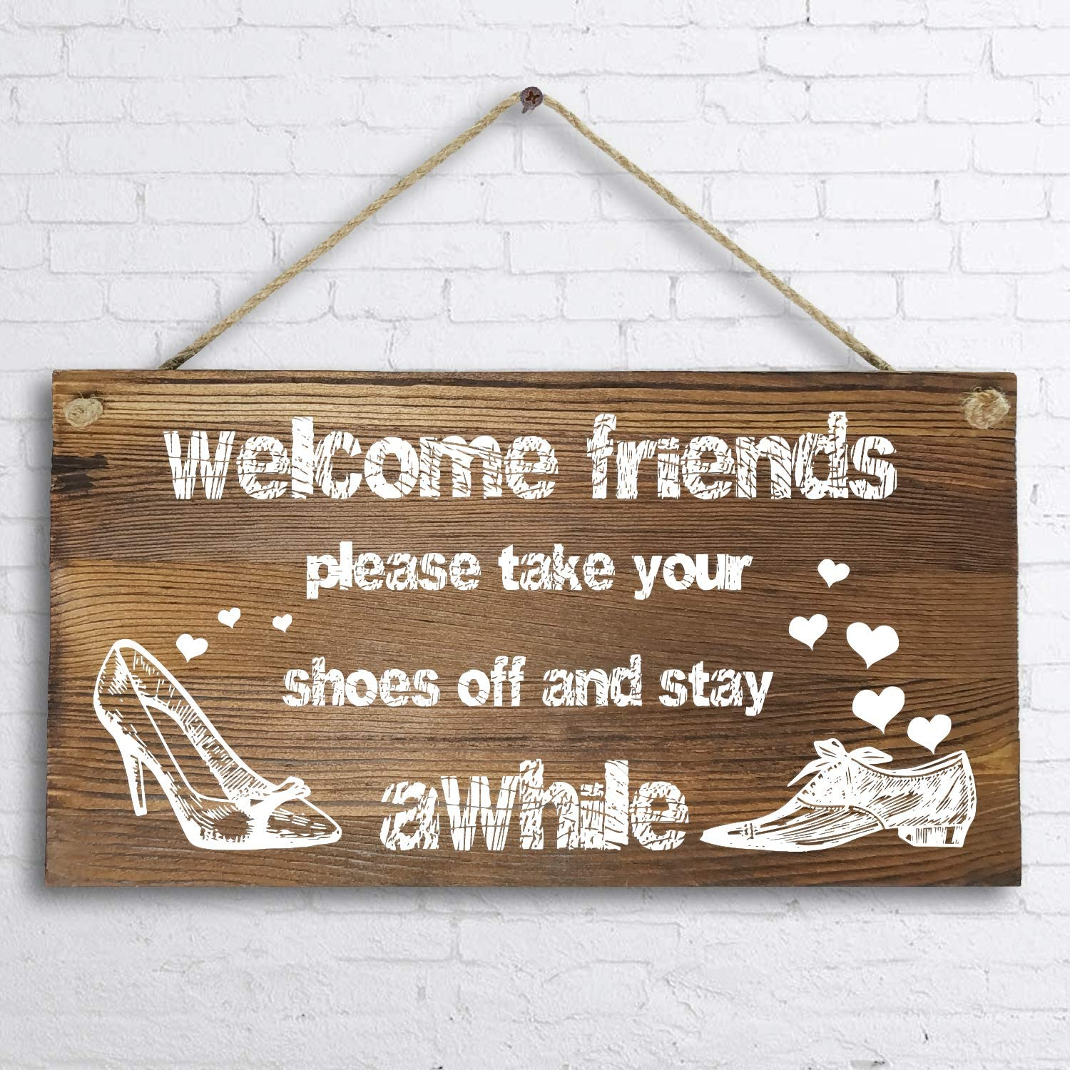 """6""""x 12"""" Rustic Solid Wood Home Decor Sign Wall Art Plaque -Welcome Friends,Please take Your Shoes Off Wall Sign."""