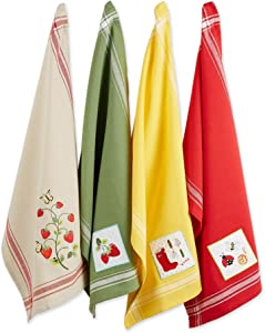 """DII Cotton Embellished Dish Towels, 18x28"""" Set of 4, Decorative Oversized Kitchen Towels, Perfect Home and Kitchen Gift-Strawberry Patch"""
