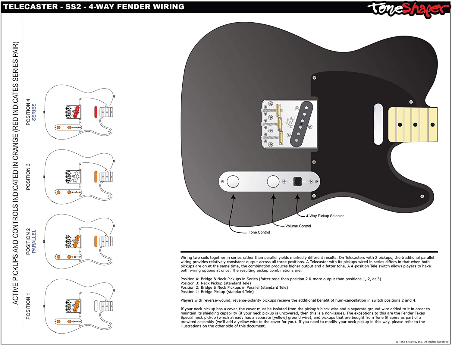 Amazon.com: ToneShaper Guitar Wiring Kit, For Fender Telecaster, SS2 (4-Way  Fender Wiring): Musical InstrumentsAmazon.com