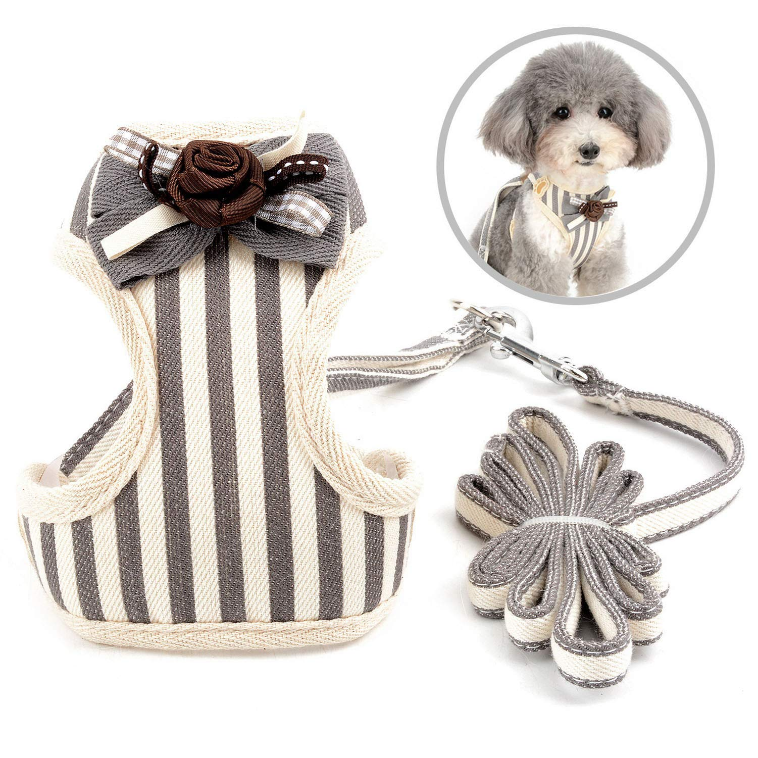 Zunea No Pull Dog Harness and Leash Set for Small Dogs Adjustable Striped Formal Tuxedo Vest Harnesses with Bow Tie for Puppy Girl Boy, Mesh Padded Pet Cat Harness Escape Proof for Walking Gray L