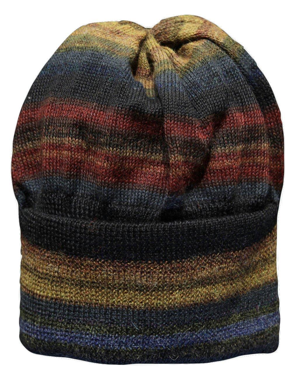 Invisible World Women's Alpaca Wool Hat Knit Unisex Beanie Winter Chiminea Lg