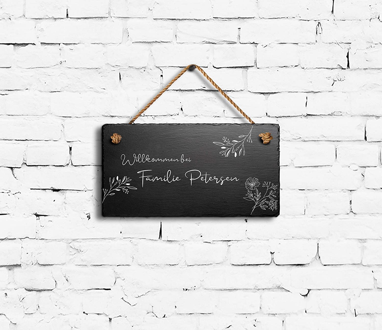 Schiefer-Schild mit Kordel zum Aufh/ängen in 3 Gr/ö/ßen gravierte Namensschilder Klingelschilder mit Namen oder Texten Herzlich Willkommen Sch/öne Schiefer T/ürschilder f/ür die Haust/ür mit Gravur