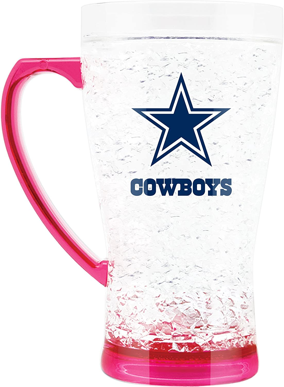 NFL Dallas Cowboys 16oz Crystal Freezer Flared Mug with Pink Base and Handle