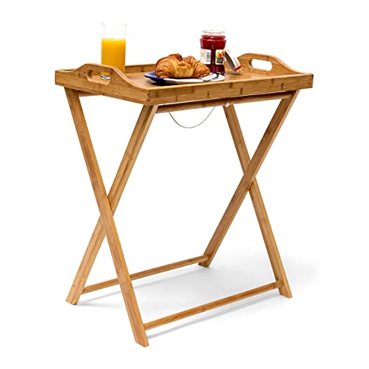 Relaxdays Bamboo Tray Table 63.5 X 55 X 35 Cm, Side Table With Breakfast,