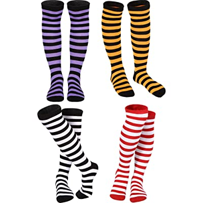 4 Pair Women Girls Colorful Striped Knee Socks High Witch Knee Socks High Socks (Witch Style 4 Colors) at Amazon Women's Clothing store