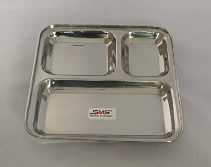 Buy SMS 3 in 1 Rectangle Three Compartment Divided Plate / Thali