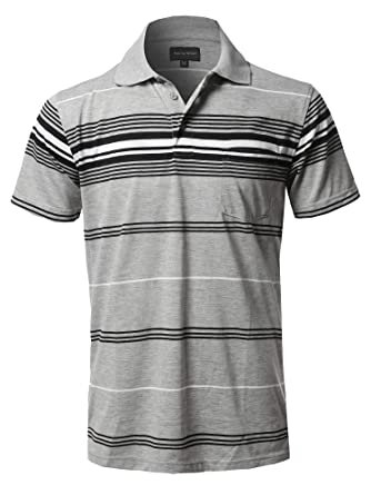 d8a1fa278 Style by William Casual Striped Short Sleeves Three-Button Polo Shirt  Heather Grey2(Pocket