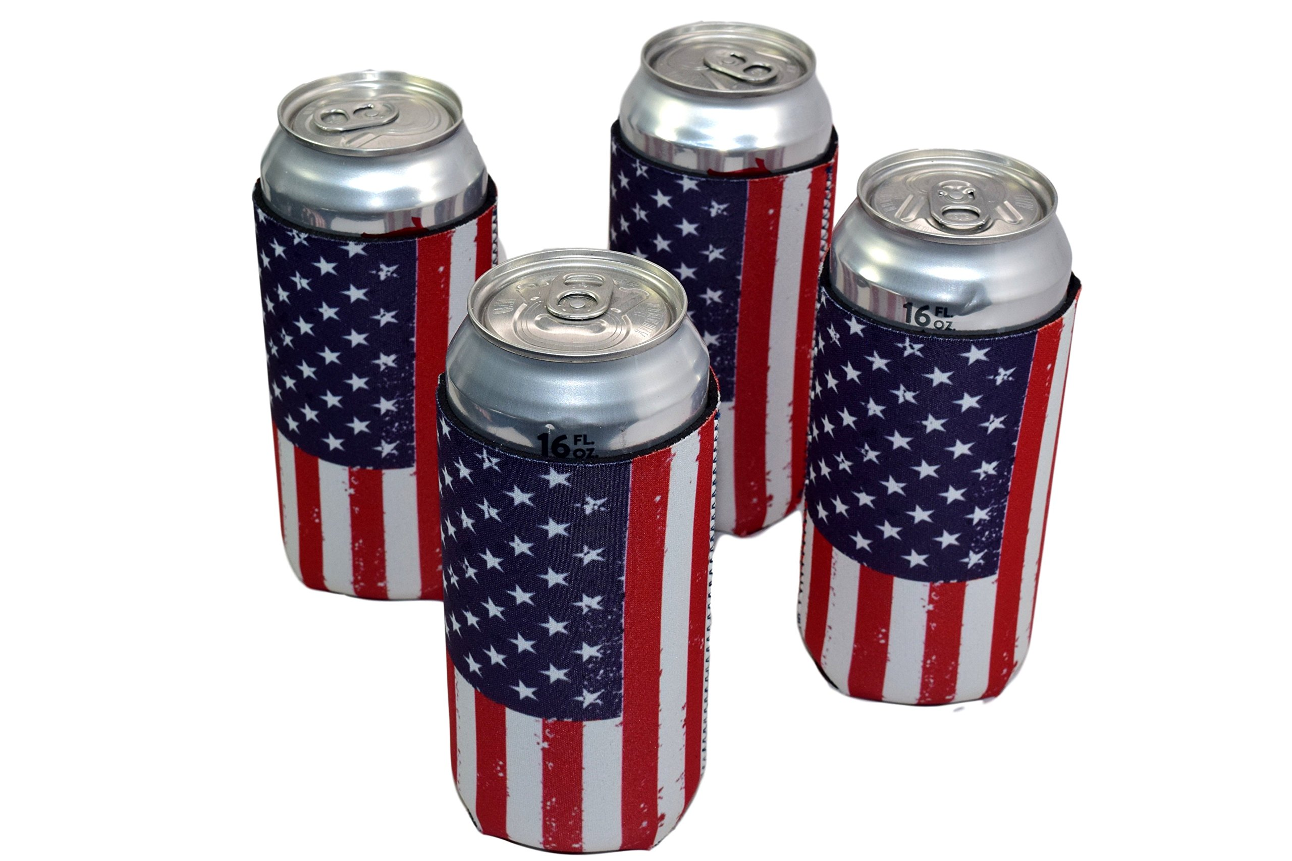 QualityPerfection 6 USA Flag Neoprene Collapsible 16oz Tall Can Coolers Party Drink Beer coolie Coolies Sleeves | Insulated Cooler | Stitched Fabric Edges
