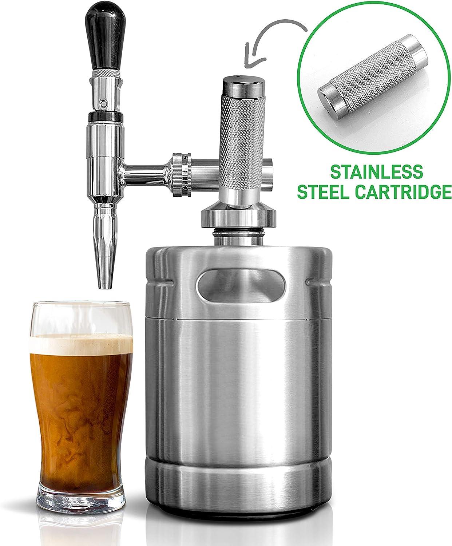 Nitro Cold Brew Coffee Maker - Home Brew Coffee Keg, Nitrogen Coffee Machine Dispenser System w/ Pressure Relieving Valve Kit & Stout Creamer Faucet - NutriChef NCNTROCB10