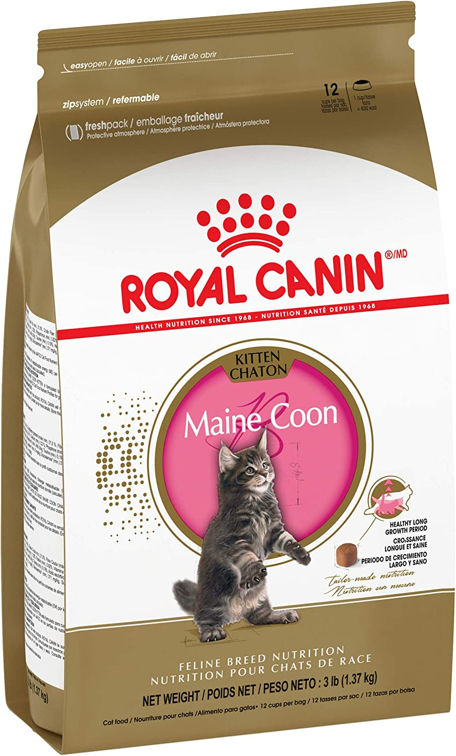 Amazon Com Royal Canin Maine Coon Breed Dry Kitten Food 3 Lb 550203 Pet Supplies