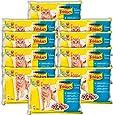 Friskies Chat Repas pour chat adulte Poissons & Légumes en sauce 4 x 100 g - Lot de 10 (40 sachets fraîcheurs)