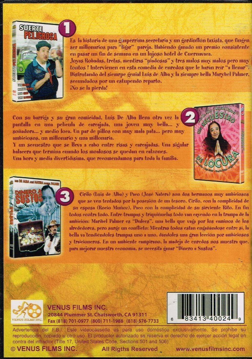 SUERTE PELIGROSA & 2.-UN SECUESTRO DE LOCURA & 3.-DINERO A SUSTOS.: MARIBEL PALMER,JOSE NATERA. LUIS DE ALBA: Movies & TV