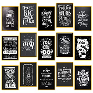 """15 Set Motivational Posters for Classroom Decorations Chalkboard - Home, Room, Office Inspirational Quotes Wall Decor Black White Pictures 13"""" x 19"""" - Inspiring Students, Women, Men, Teachers Gifts"""