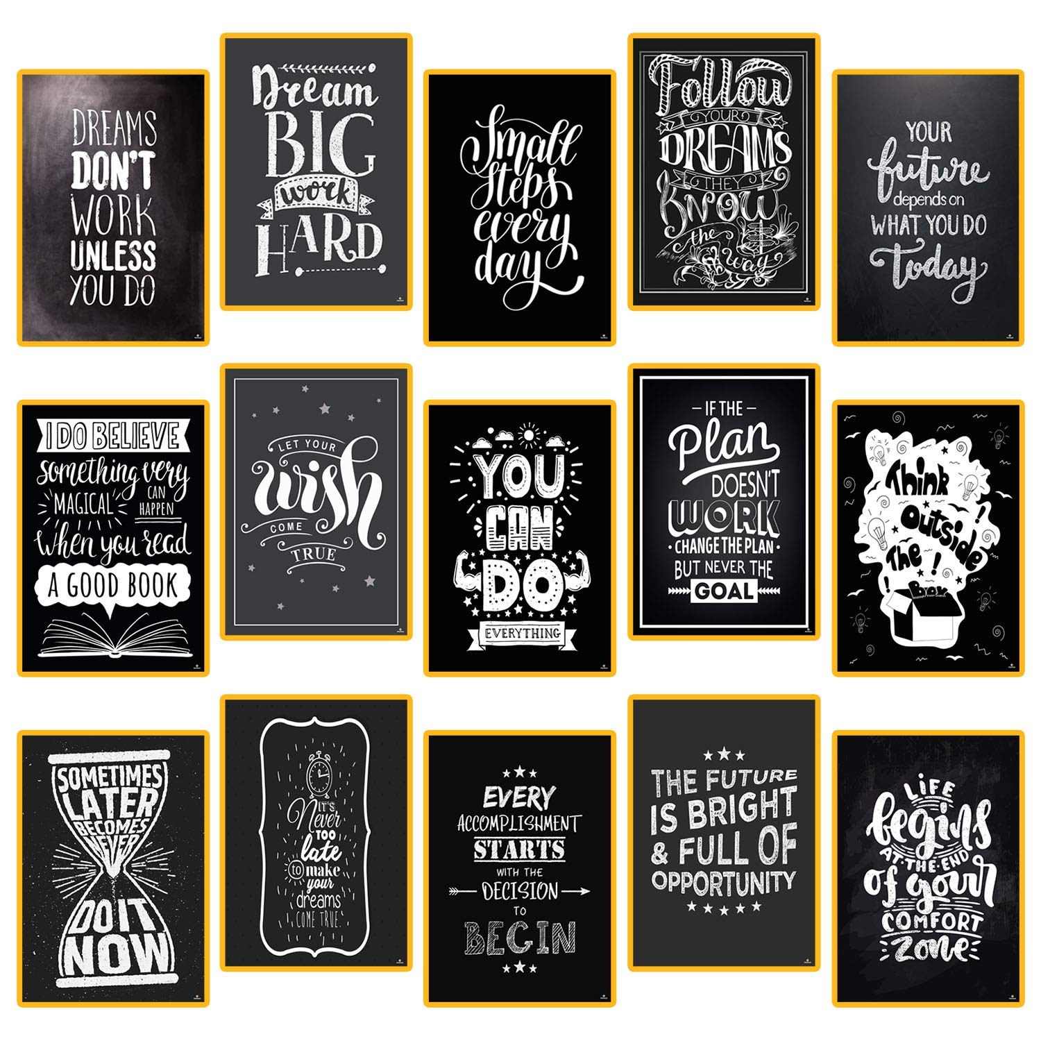 15 Set Motivational Posters for Classroom Decorations Chalkboard - Home, Room, Office Inspirational Quotes Wall Decor Black White Pictures 13'' x 19'' - Inspiring Students, Women, Men, Teachers Gifts