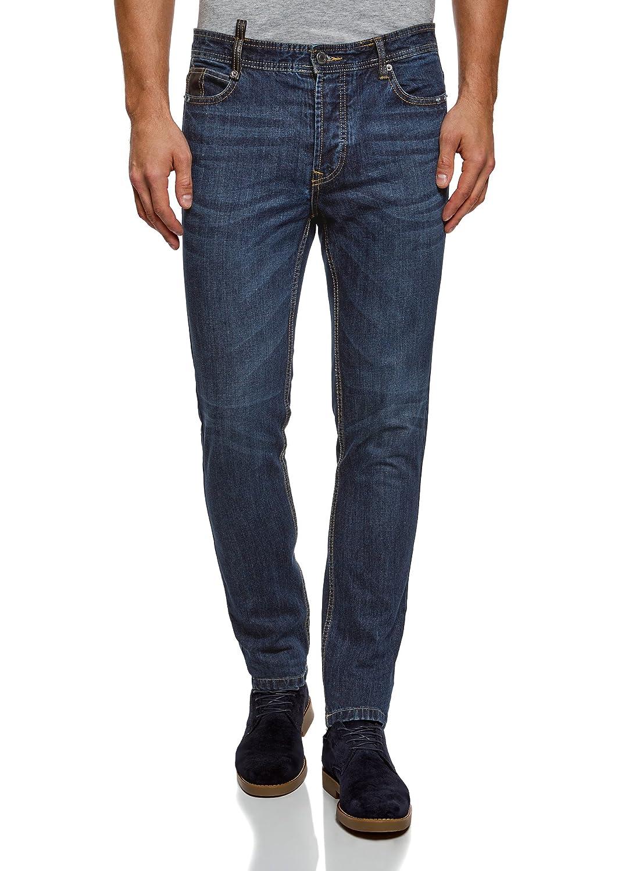 oodji Ultra Uomo Jeans Slim Fit con Inserti in Ecopelle RIFICZECH s.r.o. 6L120127M
