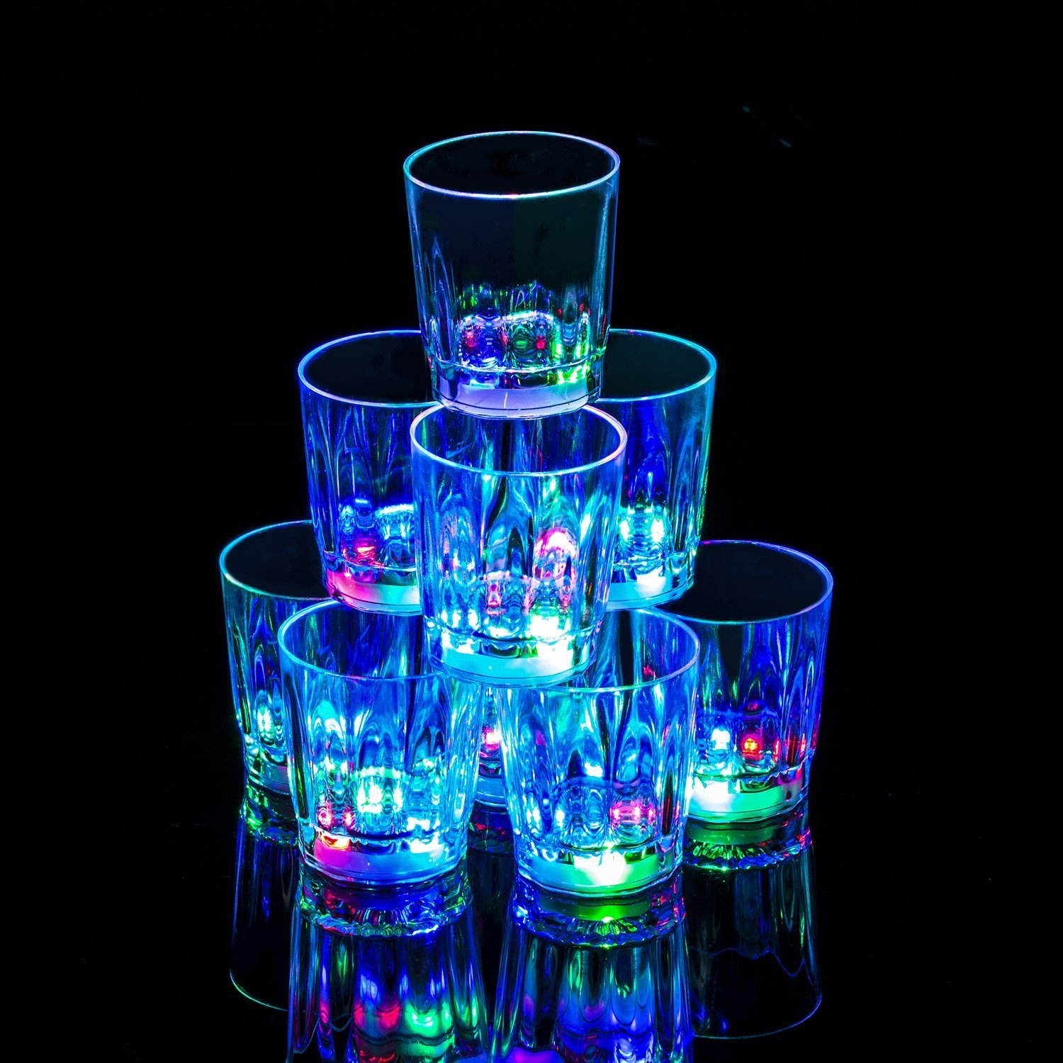 24 PC Flash Light Up Cups Flashing Drinking Shots LED Bar Night Club Party Drink Glasses (Original Shot)