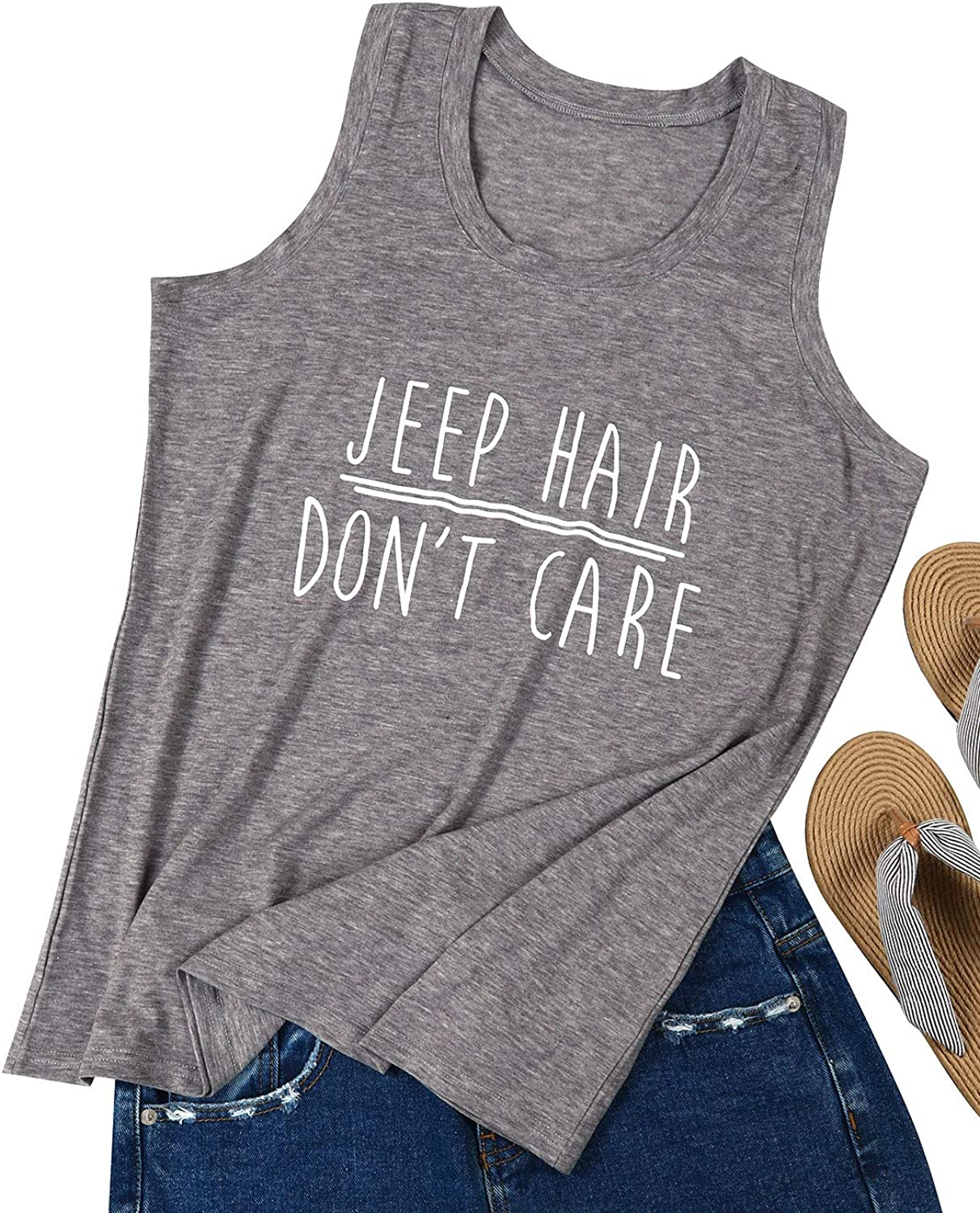 ZJP Women Grey Round Neck Jeep Hair Don't Care Letter Print Shirt Tank Tops Tee