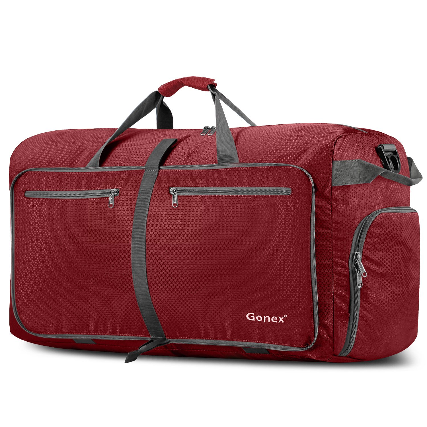 Gonex 100L Foldable Travel Duffel Bag for Luggage Gym Sports, Lightweight Travel Bag with Big Capacity, Water Repellent (Red)