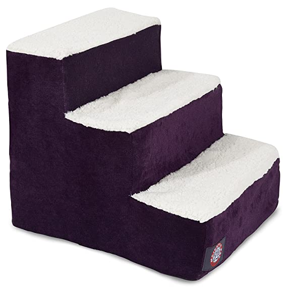 Amazon.com : 3 Step Portable Pet Stairs By Majestic Pet Products Villa Aubergine Steps for Cats and Dogs Purple : Pet Supplies
