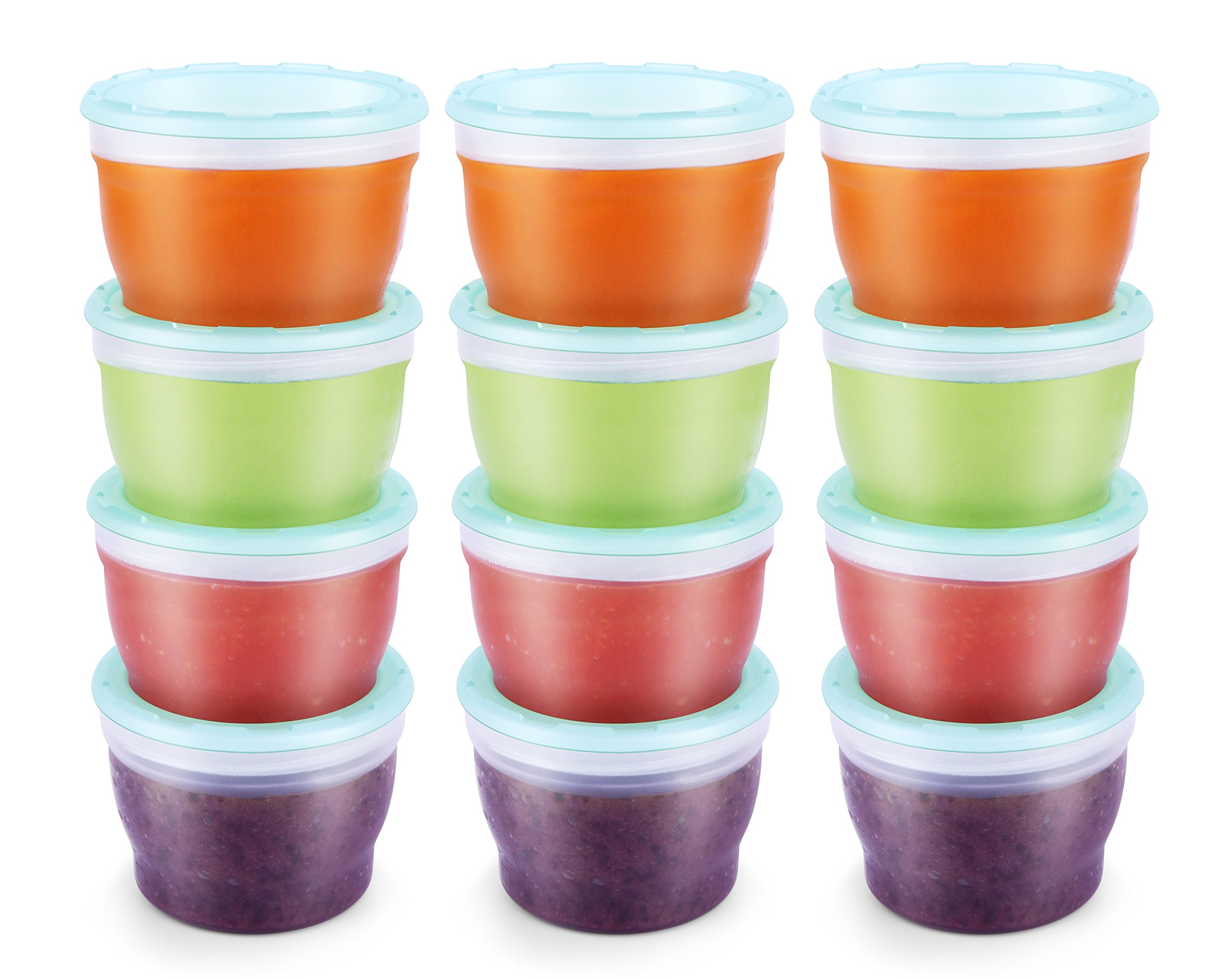 QOOC Baby Food Storage Freezer Containers, BPA-Free Airtight Plastic Set of 12-4 Ounce, Mint Blue by minne