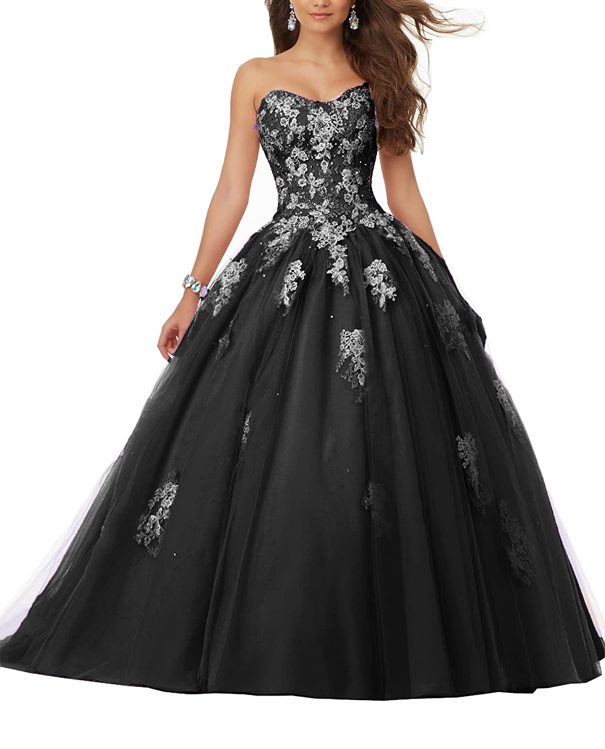 f6210bd1a7bca Eldecey Women s Sweetheart Lace Applique Sweet 16 Tulle Long Sleeveless Floor  Length Ball Gown Quinceanera Dress Light Black US10 at Amazon Women s  Clothing ...