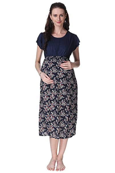 9eeab05e9b9fd VIXENWRAP Navy Blue Printed A-Line Maternity Gown: Amazon.in ...