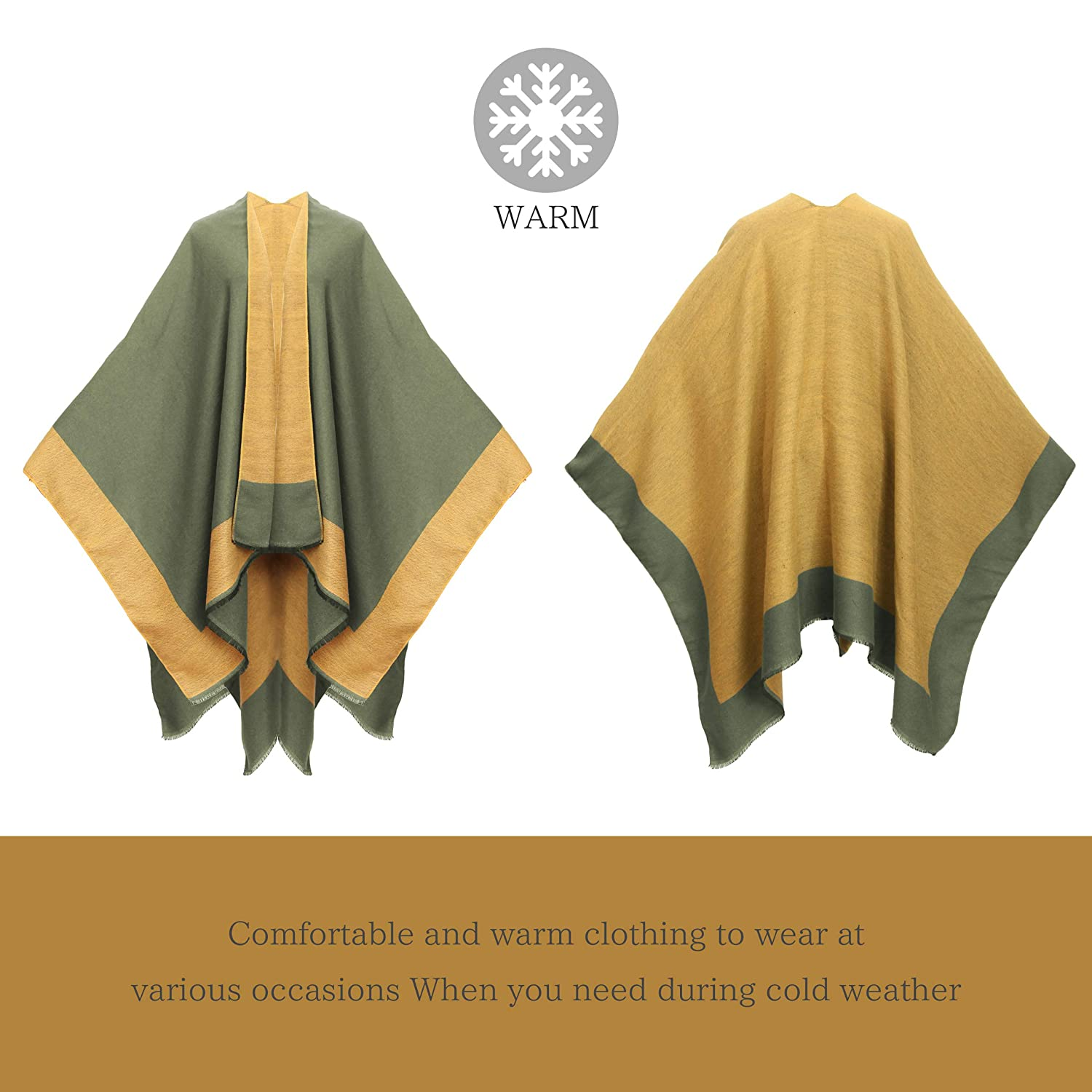 Womens Printed Poncho Cape Shawl Fashionable Open Front Wrap Gift from Yoimira