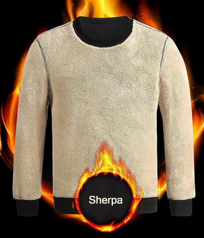 Gihuo Herren Warm Crewneck Sherpa Gefüttert Fleece Sweatshirt Pullover Tops Schwarz