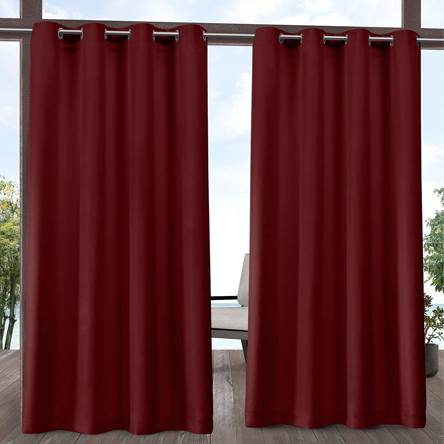 Exclusive Home Curtains Delano Heavyweight Textured Indoor/Outdoor Grommet Top Curtain Panel Pair, 54x84, Radiant Red