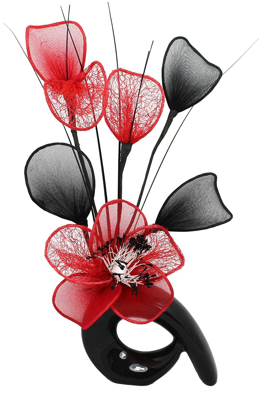 Black Vase with Red Artificial Flowers, Ornaments for Living Room, Window Sill, Home Accessories, 32cm Flourish 798611