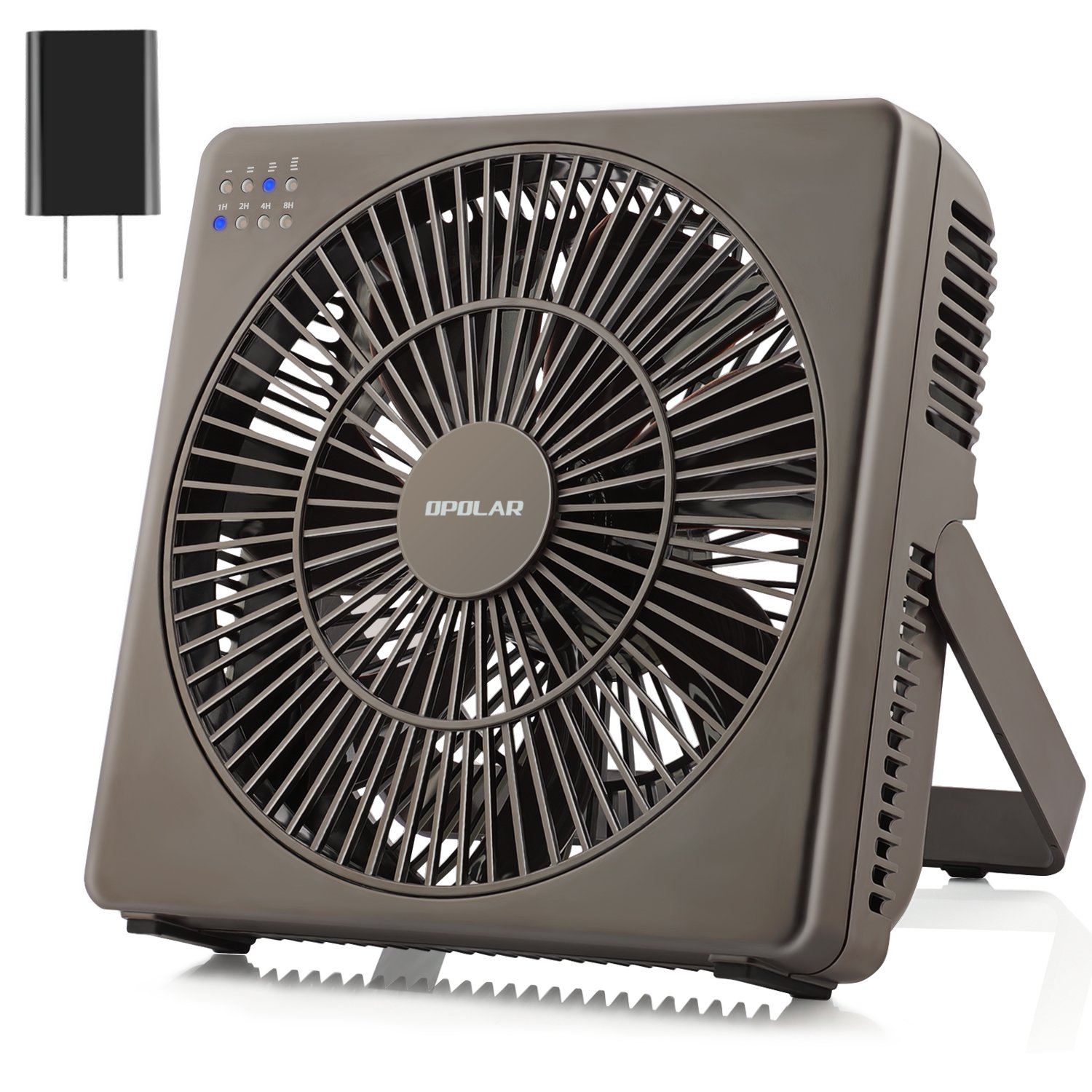 OPOLAR 8 Inch Desk Fan(Included Adapter), USB Operated, 4 Speeds+Natural Wind, Timer, Quiet Operation, Seven Blades, Adjustable Angle, Desktop Personal Cooling Box Fan for Office, Living Room, Bedroom 4335396799