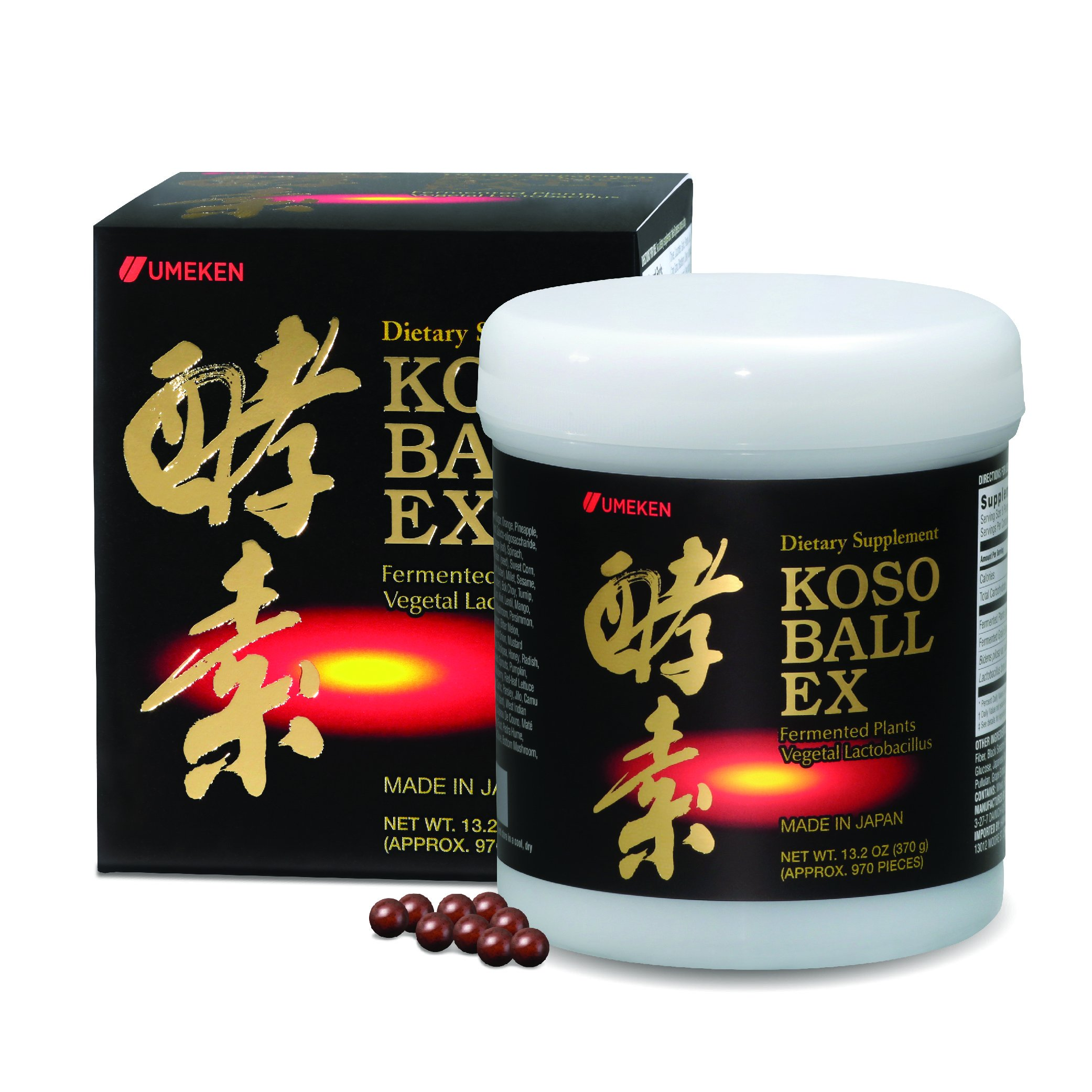 Umeken Koso Ball EX: New Fermented Fruits & Vegetables Extract Containing Enzymes. About 4 Month Supply. Made in Japan. Free Gift! Scroll to Promotions.