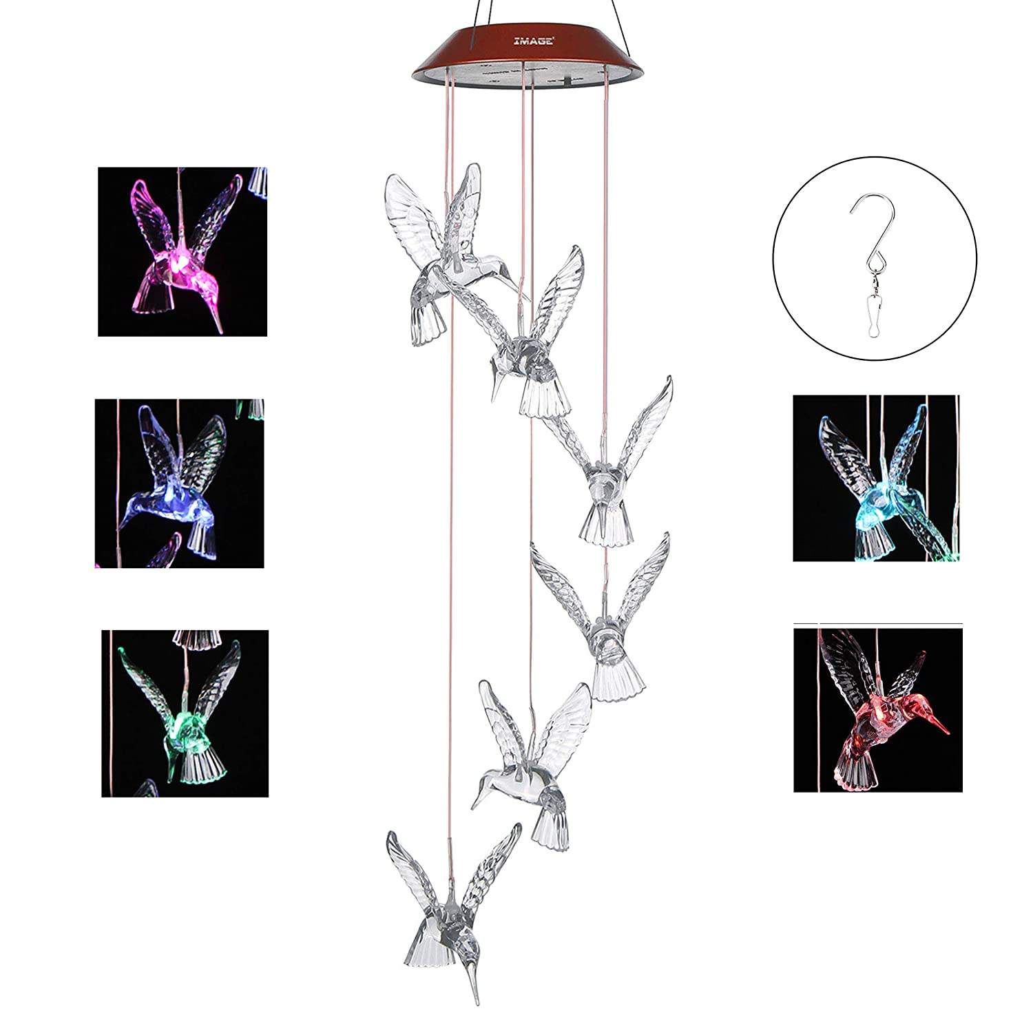 IMAGE Solar LED Color-changing Wind Chime Hummingbird Mobile Wind Chimes Gift for Home Garden Decor Patio Yard